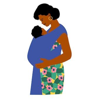 슬링에 아기와 어머니
