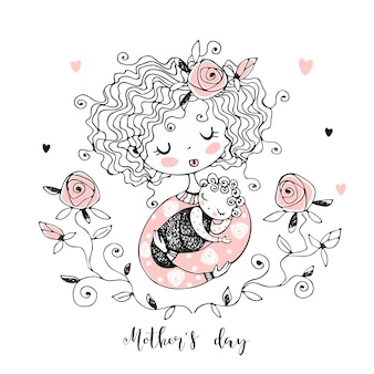 The mother with the baby. mother's day card.