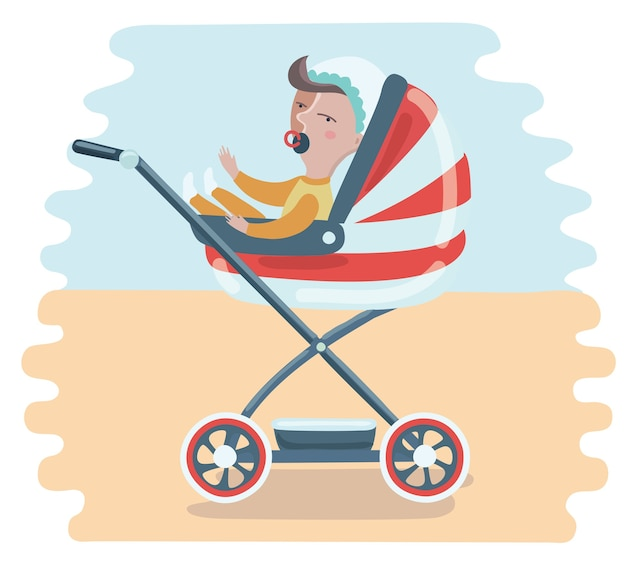Mother with baby in stroller. young mother pushing baby boy in pram with milk bottle.
