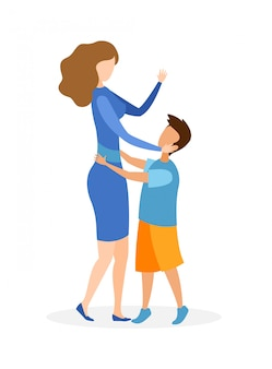 Mother with child hugging   illustration