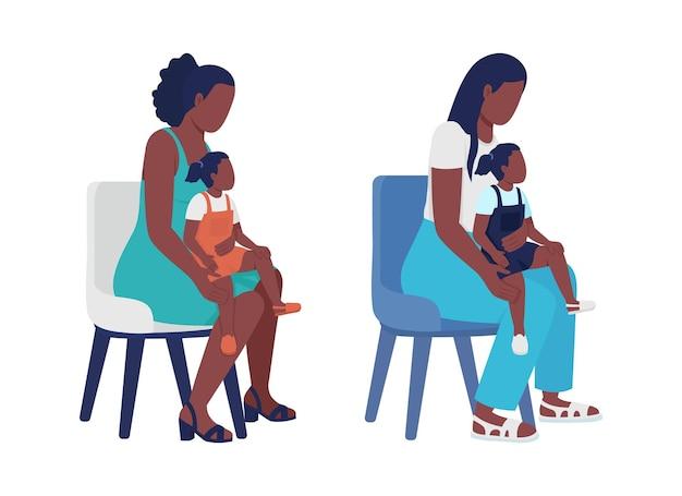 아이 세미 플랫 컬러 벡터 문자 세트와 어머니. 앉아있는 인물. 흰색에 전신 사람들입니다. 그래픽 디자인 및 애니메이션에 대한 어머니 격리 현대 만화 스타일 그림