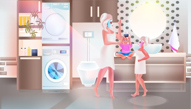 Mother with children applying masks happy family spending time together bathroom interior