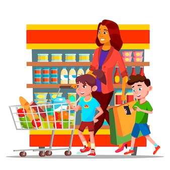 Mother with children shopping in hypermarket characters