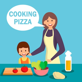 Mother with daughter cooking dish illustration