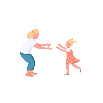 Mother with daughter flat color faceless characters. little girl run to hug mom. parenthood, motherhood. happy family isolated cartoon illustration for web graphic design and animation