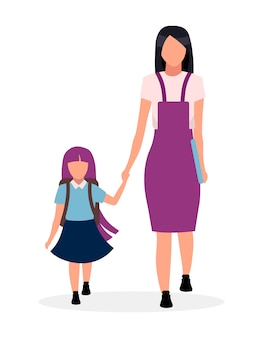 Mother with daughter going to kindergarten flat illustration. older and younger sisters holding hands cartoon characters isolated on white background. preteen schoolgirl and parent together