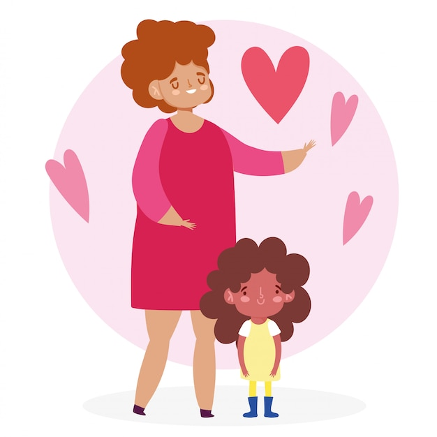 Mother with daughter and hearts   design