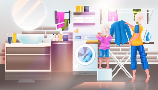 Mother with daughter ironing clothes in bathroom full length horizontal vector illustration