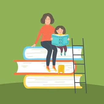 책의 스택에 앉아 딸 읽기 책과 어머니 학습 homeschool 개념을 공부하는 교육