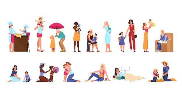 그녀의 아이와 어머니. 소녀와 소년, 함께 재미와 함께 행복 한 부모 놀이. 엄마와 아이의 활동.