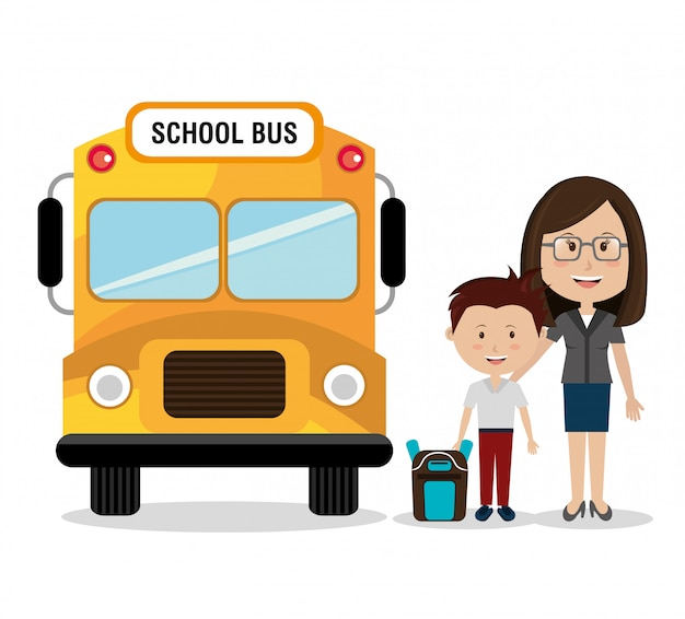Mother with her son by school bus