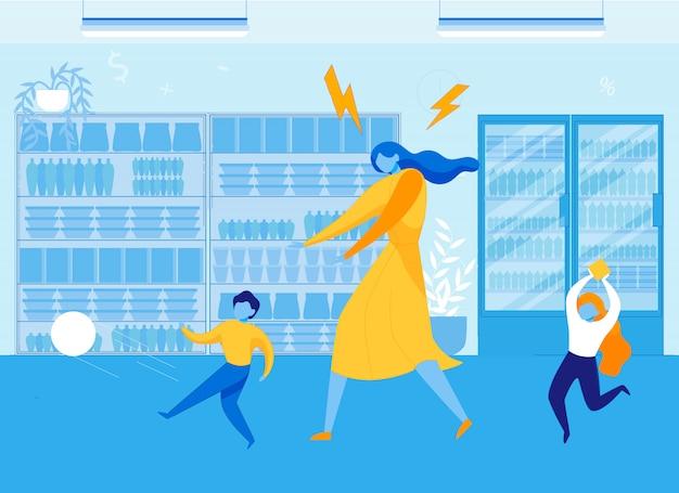 Mother with hyperactive children in supermarket.