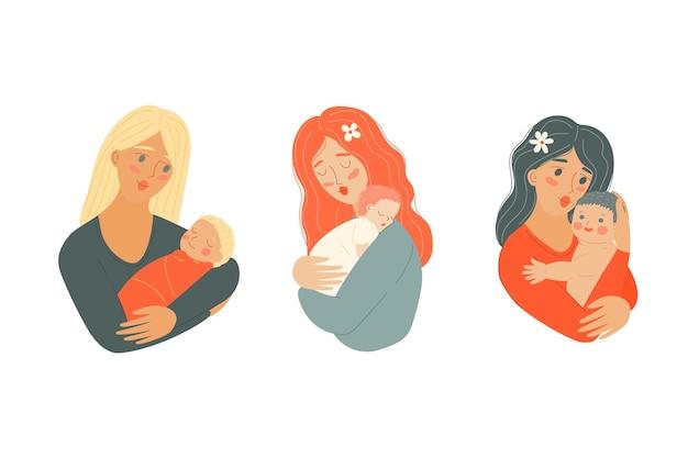 신생아와 어머니 어머니의 날 만화 유아와 엄마 아이를 가진 여자 부모 보유