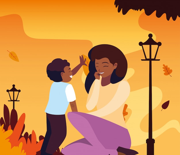 Mother with son in autumn