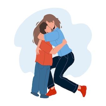 Мать женщина обнимая с любовью вектор сына младенца. сестра маленькой девочки обнимает брата ребенка. персонажи дружелюбно обнимаются вместе, семья наслаждается и имеет чувственное время плоский мультфильм иллюстрации