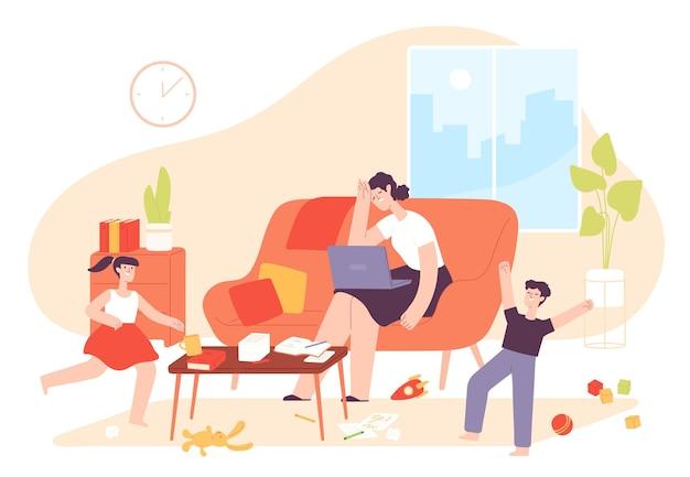 어머니는 집에서 일합니다. 지나치게 활동적인 아이들과 지저분한 방에 노트북을 들고 있는 피곤한 엄마. 아이들이 있는 프리랜서 여성. 부모 스트레스 벡터 개념입니다. 일러스트 엄마는 좌절하고, 곤란하고, 지저분하다