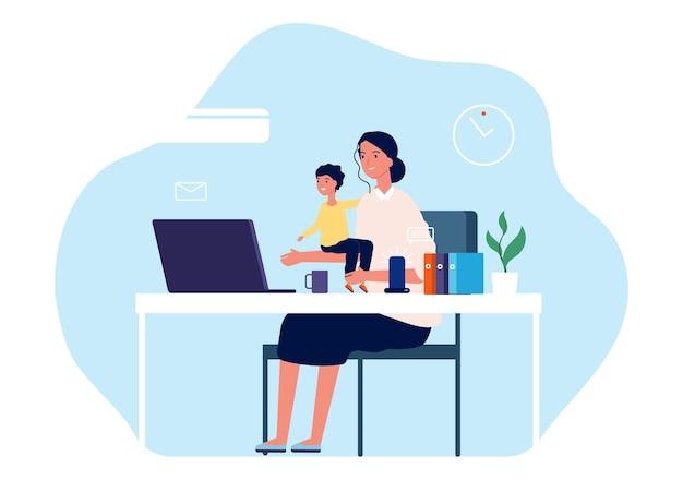 일하는 어머니. 책상과 컴퓨터에 앉아 아기와 함께 젊은 여성. 프리랜서 작업자, 모성 또는 부모 및 경력 그림. 만화 평면 그림