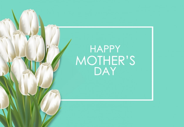 Motherの日現実的な白いチューリップの花束イラスト