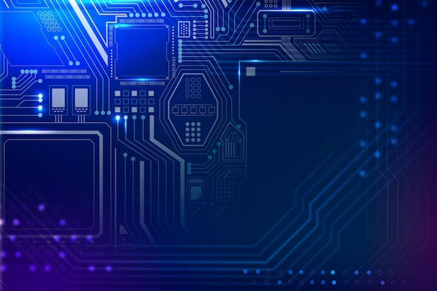 Motherboard circuit technology background vector in gradient blue