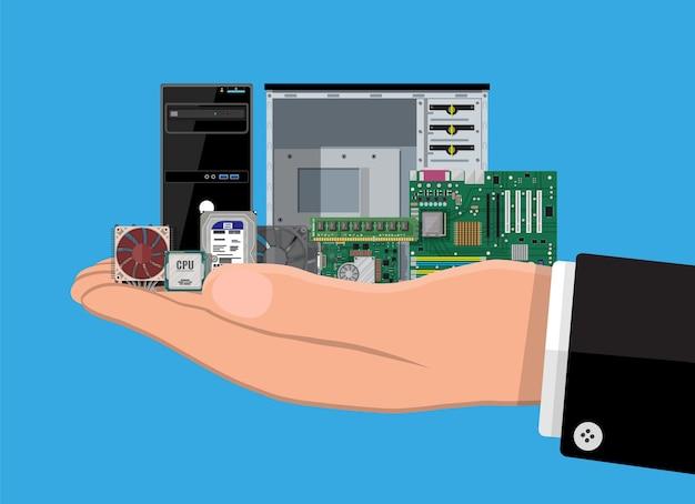 Материнская плата, жесткий диск, процессор, вентилятор, графическая карта, память, отвертка и корпус. набор аппаратного обеспечения персонального компьютера в руке. значки компонентов пк