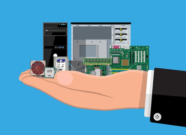 Motherboard, hard drive, cpu, fan, graphic card, memory, screwdriver and case. set of personal computer hardware in hand. pc components icons