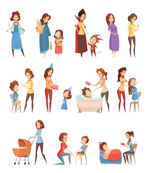 아이 복고풍 만화 아이콘 3 배너 설정 격리 된 벡터 일러스트 레이 션을 읽고 걷는 어머니 육아 쇼핑 재생