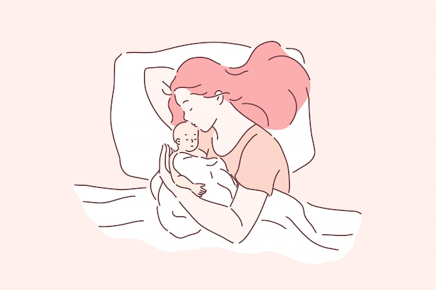 Motherhood, childcare, tenderness . mother and newborn baby sleeping together, mom hugging and kissing baby, mommy and infant lying in bed, mothers day and parenting. simple flat