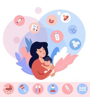 모성 개념 그림입니다. 신생아와 인포그래픽 요소가 있는 엄마. 벡터 디자인입니다.