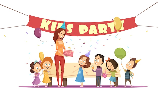 Motherhood concept and kids party with celebration symbols cartoon vector illustration
