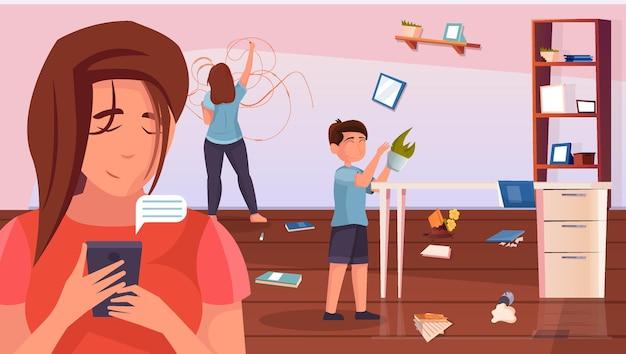 Fondo piatto della maternità con ragazza e ragazzo ignorati dalla madre che guarda l'illustrazione dello smartphone