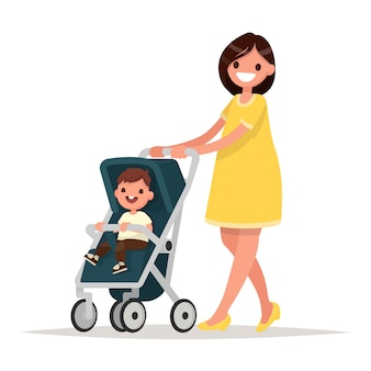 Motherhood. happy young mother with the baby in the pram.  illustration in a flat style