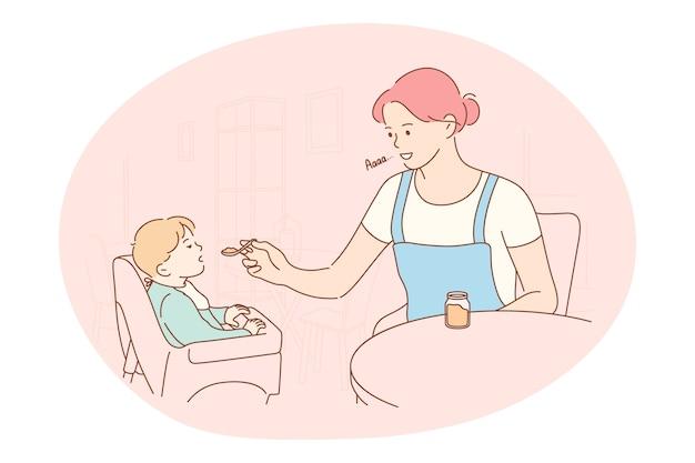 母性、母への愛、親子関係と子供時代の概念。若いポジティブな女性の母の漫画