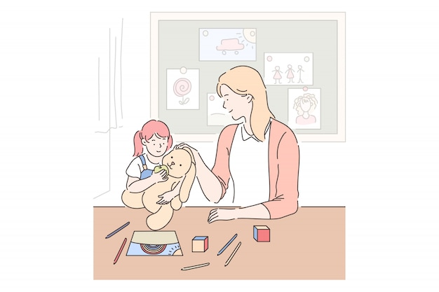 Motherhood, parenting, babysitting . mother and daughter playing together, little girl with toy in playroom, mom spending time with kid, mommy and child relationship. simple flat