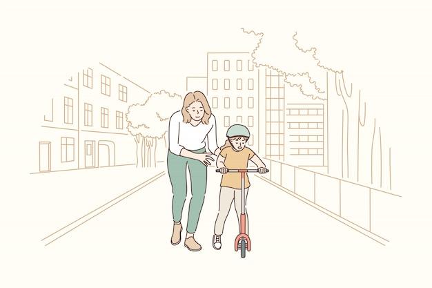 Материнство, верховая езда, детство, концепция обучения.
