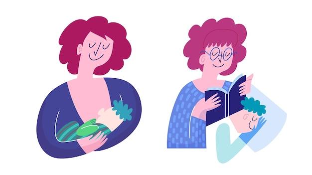 母性シーン。母親が赤ちゃんに母乳を与え、母親が子供に本を葦で育てています。フラットかわいい