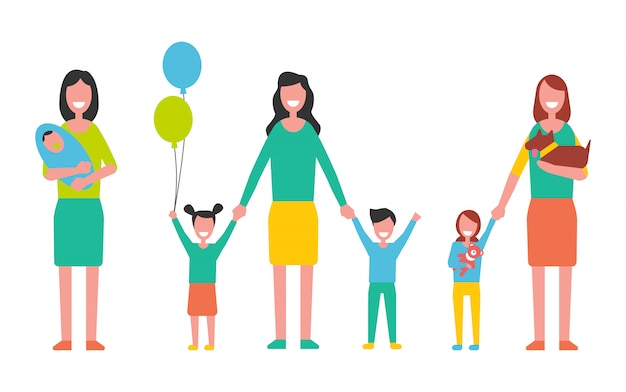 Motherhood vector woman taking care about kids