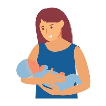 母性。彼女の腕の中で赤ちゃんを持つ女性。母乳育児中の乳児。