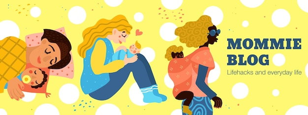 Maternità, donne e bambini, blog di mamme, intestazione su sfondo giallo con cerchi bianchi, disegnata a mano