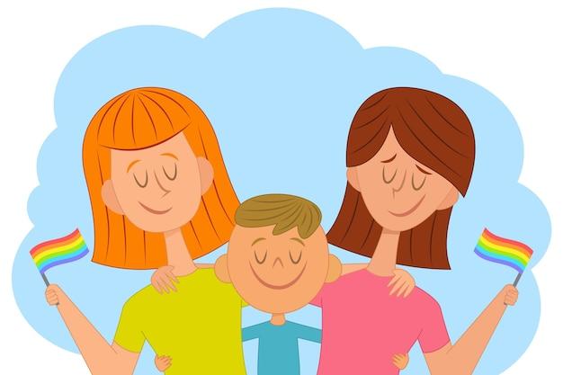 Матери и ребенка празднуют день гордости