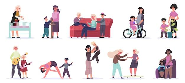 어머니와 아이들. 모성 일상 활동, 엄마와 아이들이 책을 읽고, 놀고, 스케이트 타기
