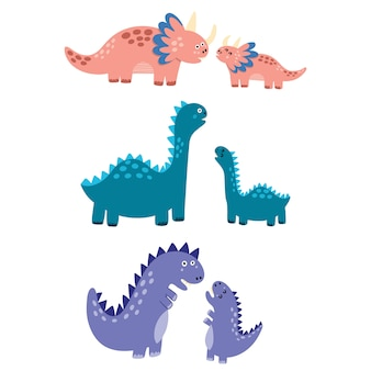 Mothers and babies dinosaurs set. mom dinos with their little babies isolated elements. cute characters in childish style. illustration