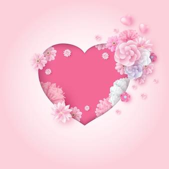 꽃과 하트 모양 종이의 어머니의 날과 결혼식 발렌타인 데이 카드 개념
