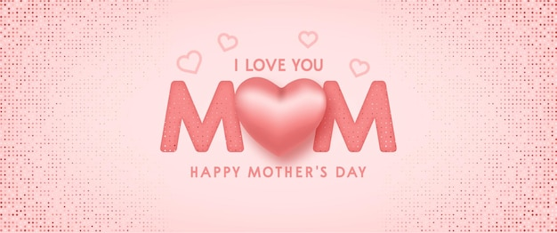 Mothers day banner background with cute realistic pink design