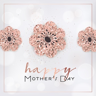 Mothers day banner template with golden glitter flowers. mother day greeting card calligraphy design with glowing elements for flyer, banner, brochure. vector illustration