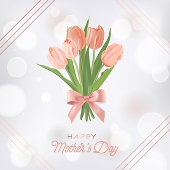 Mothers day banner template with tulips flowers bouquet. mother day holiday floral greeting card for flyer, brochure, sale spring discount template. vector illustration