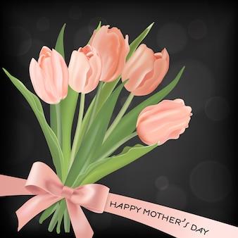 Шаблон баннера день матери с букетом цветов тюльпанов. день матери праздник цветочные открытки для флаера, брошюры, распродажа весенняя скидка шаблон. векторная иллюстрация