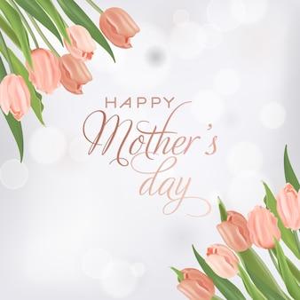 Шаблон баннера день матери с цветами тюльпанов. день матери праздник цветочные открытки для флаера, брошюры, распродажа весенняя скидка шаблон. векторная иллюстрация