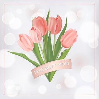 튤립 꽃과 함께 어머니의 날 배너 템플릿입니다. 전단지, 브로셔, 판매 봄 할인 템플릿 어머니 날 휴일 꽃 인사말 카드. 벡터 일러스트 레이 션