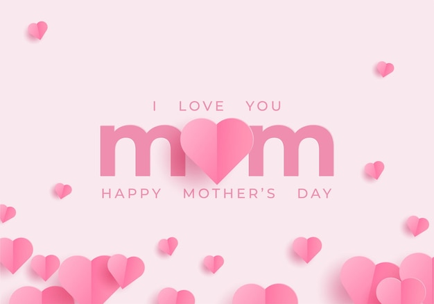 Mothers day banner with hearts