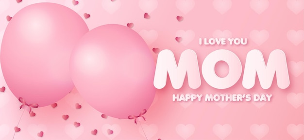 Mothers day banner with realistic pink balloons background